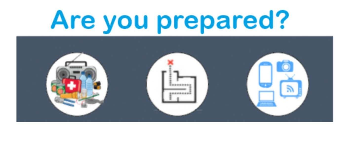 A link to the preparedness page for a list of items to have on hand in case of emergency