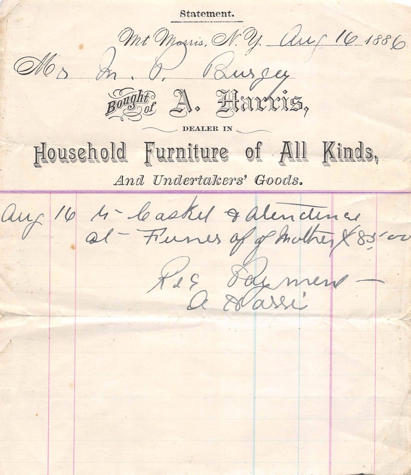 image of Mt Morris A. Harris Casket Receipt from 1886
