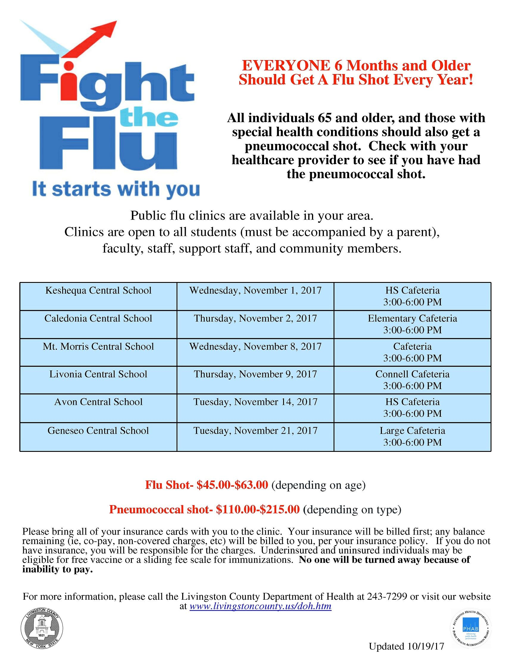 flu clinic schedule