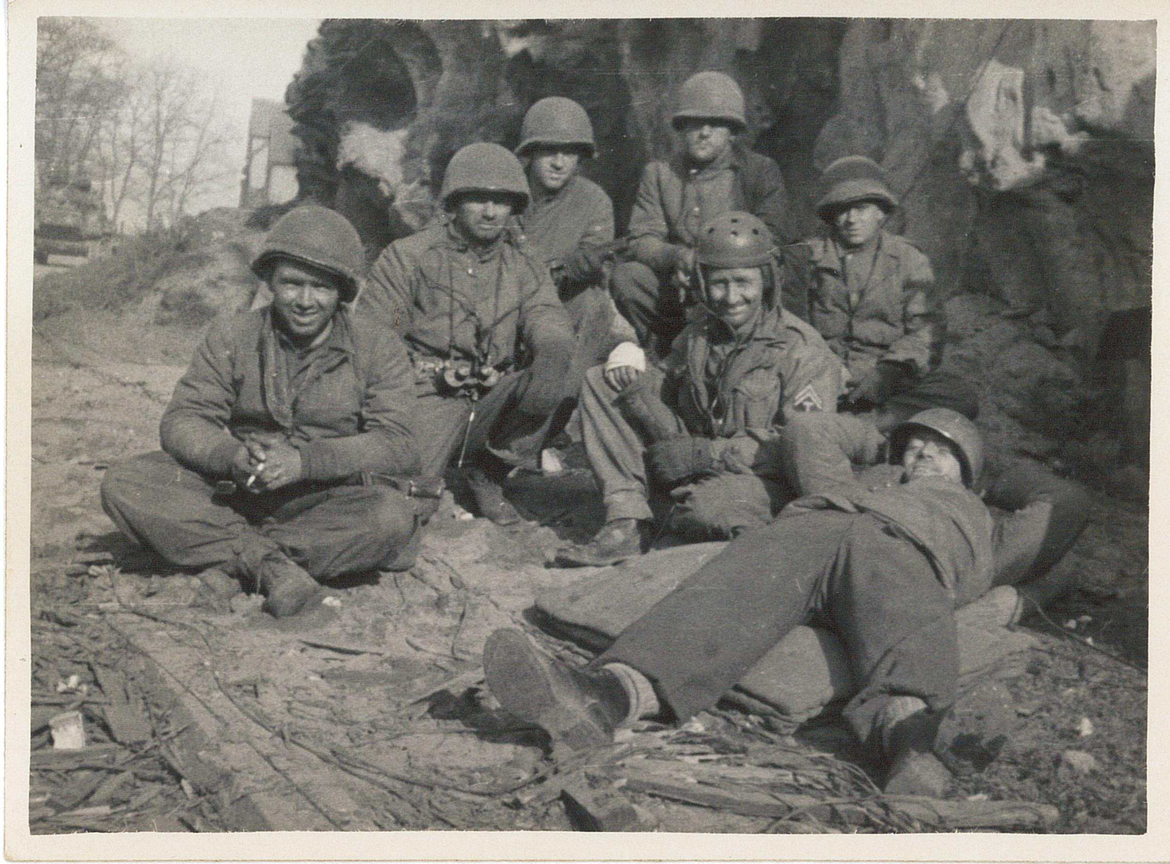 Photo of men in France during WW II