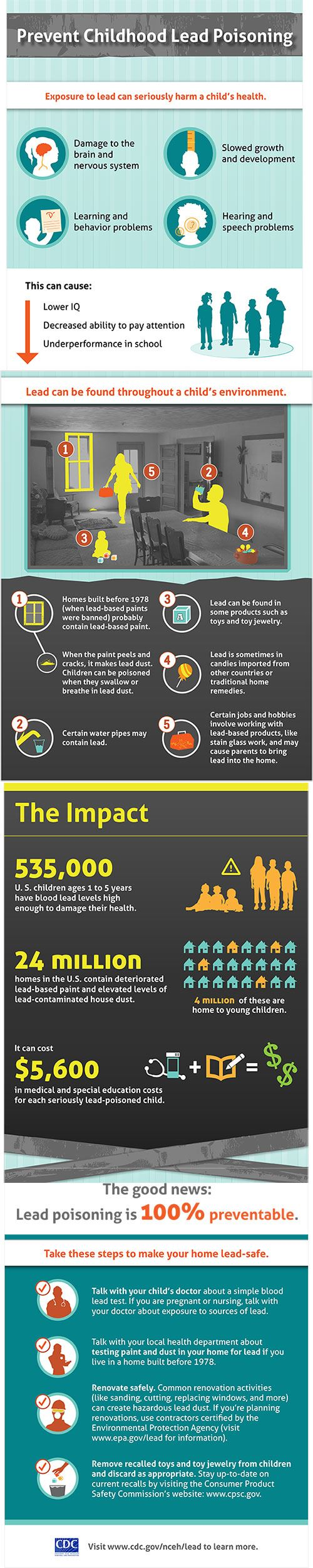 Lead poisoning printable infographic regarding lead poisoning prevention.