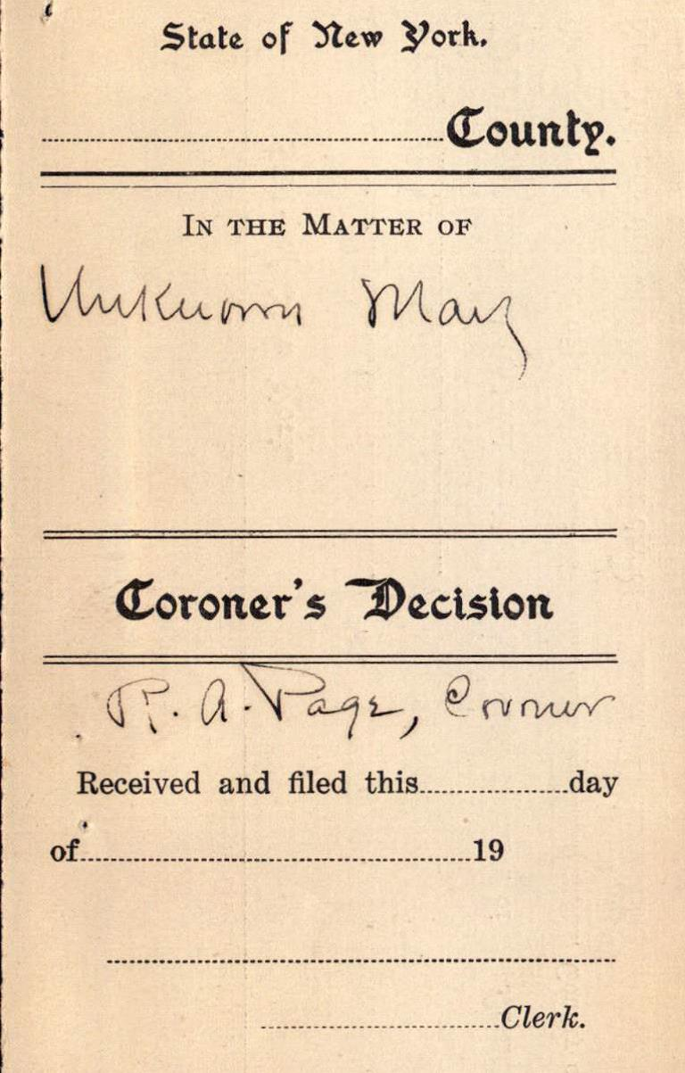 Clipping of a Coroner's Decision
