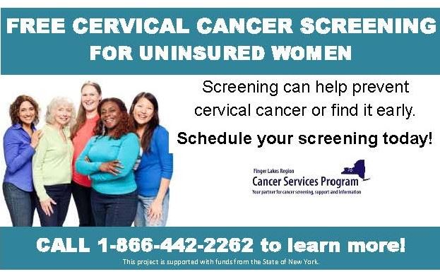 Promoting free cervical cancer screenings for uninsured women.  Call 1-866-2262 to learn more!