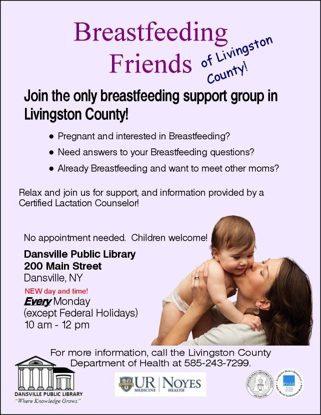 a flyer promting the breastfeeding friends support group with a new day and time.  Mondays from 10:0