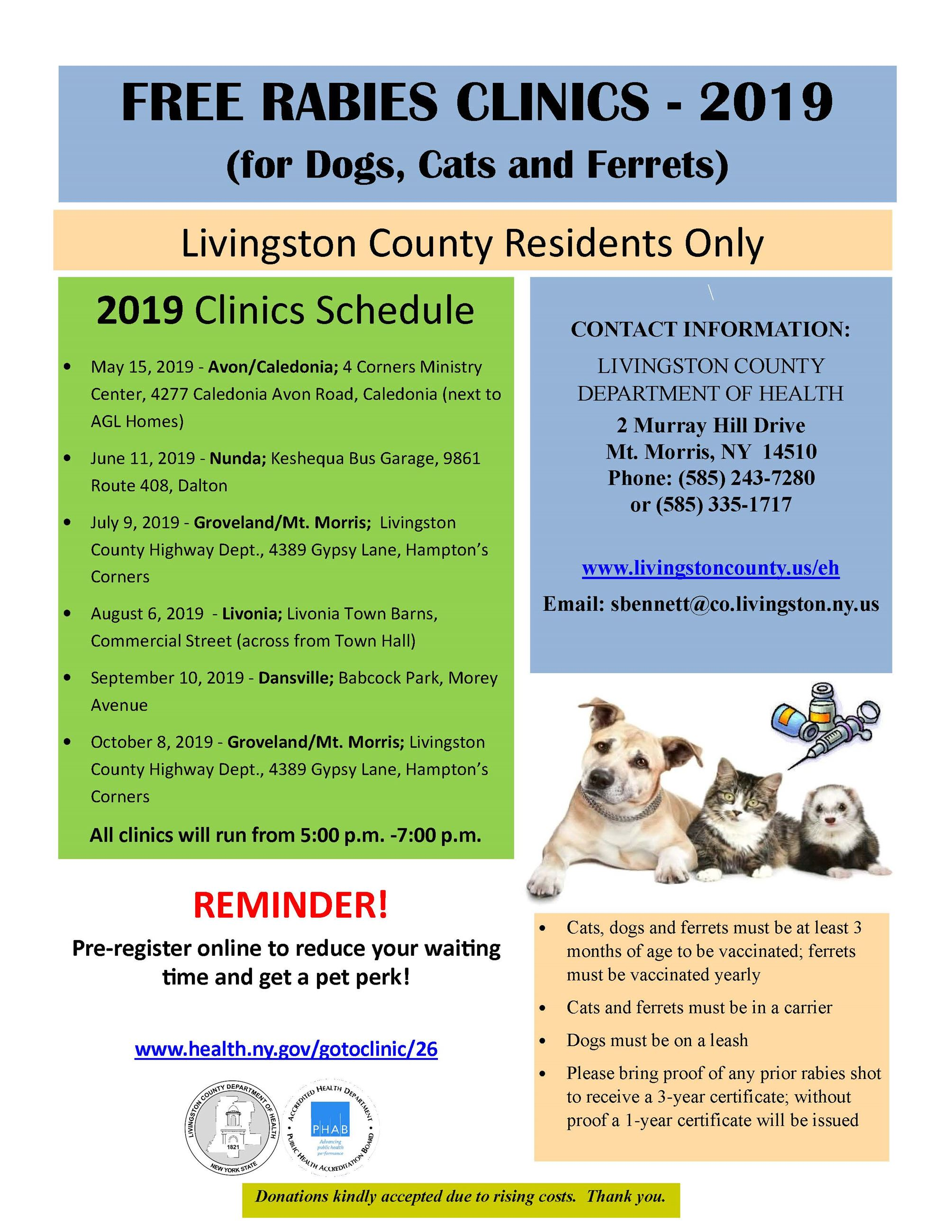 The rabies clinic schedule for 2019
