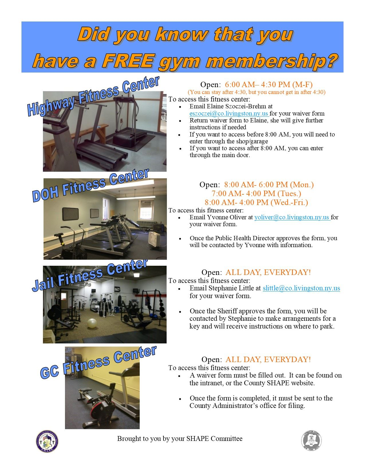 Flyer listing gym hours for County employees