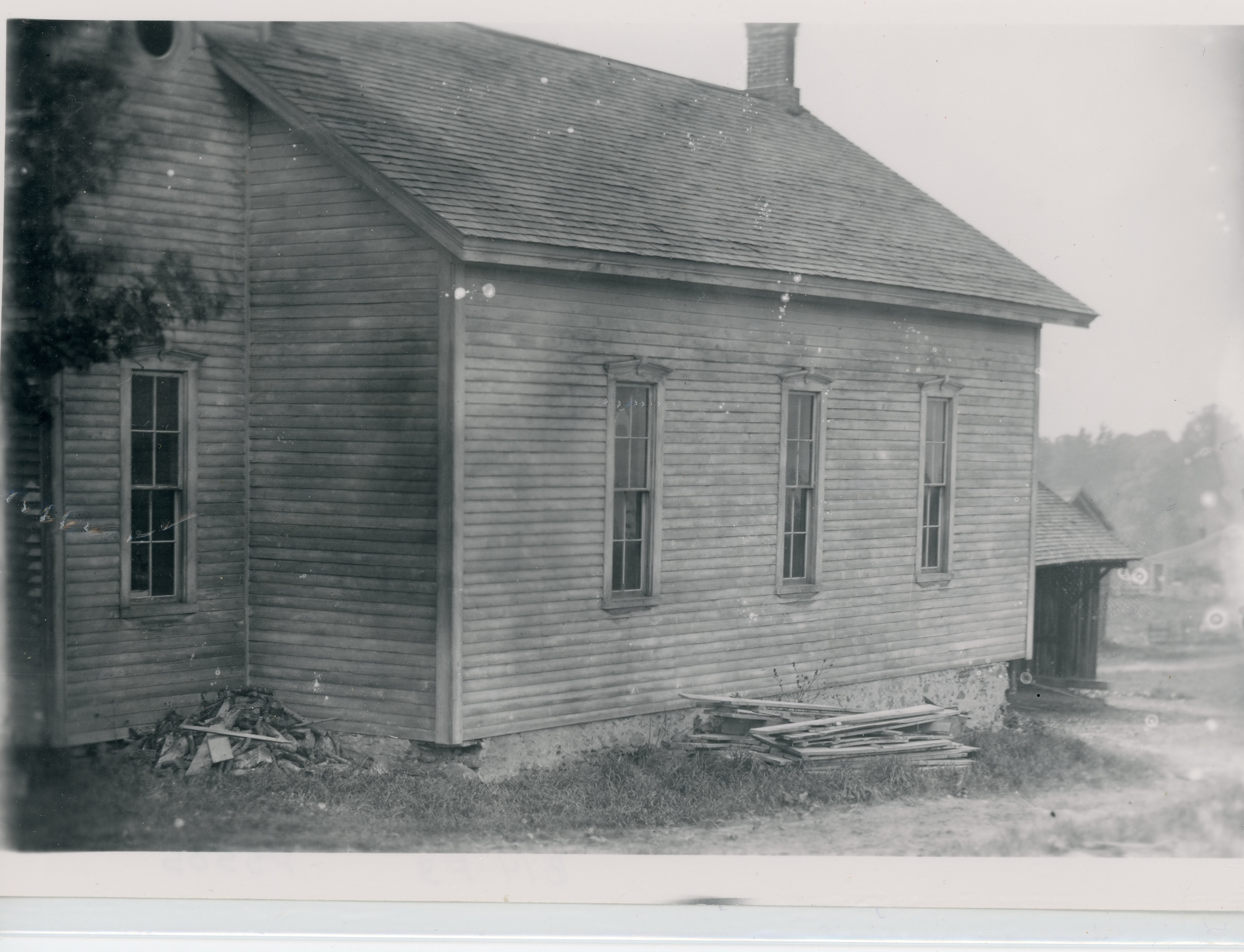 A close-up image of the wooden Free Methodist Church in Byersville, West Sparta