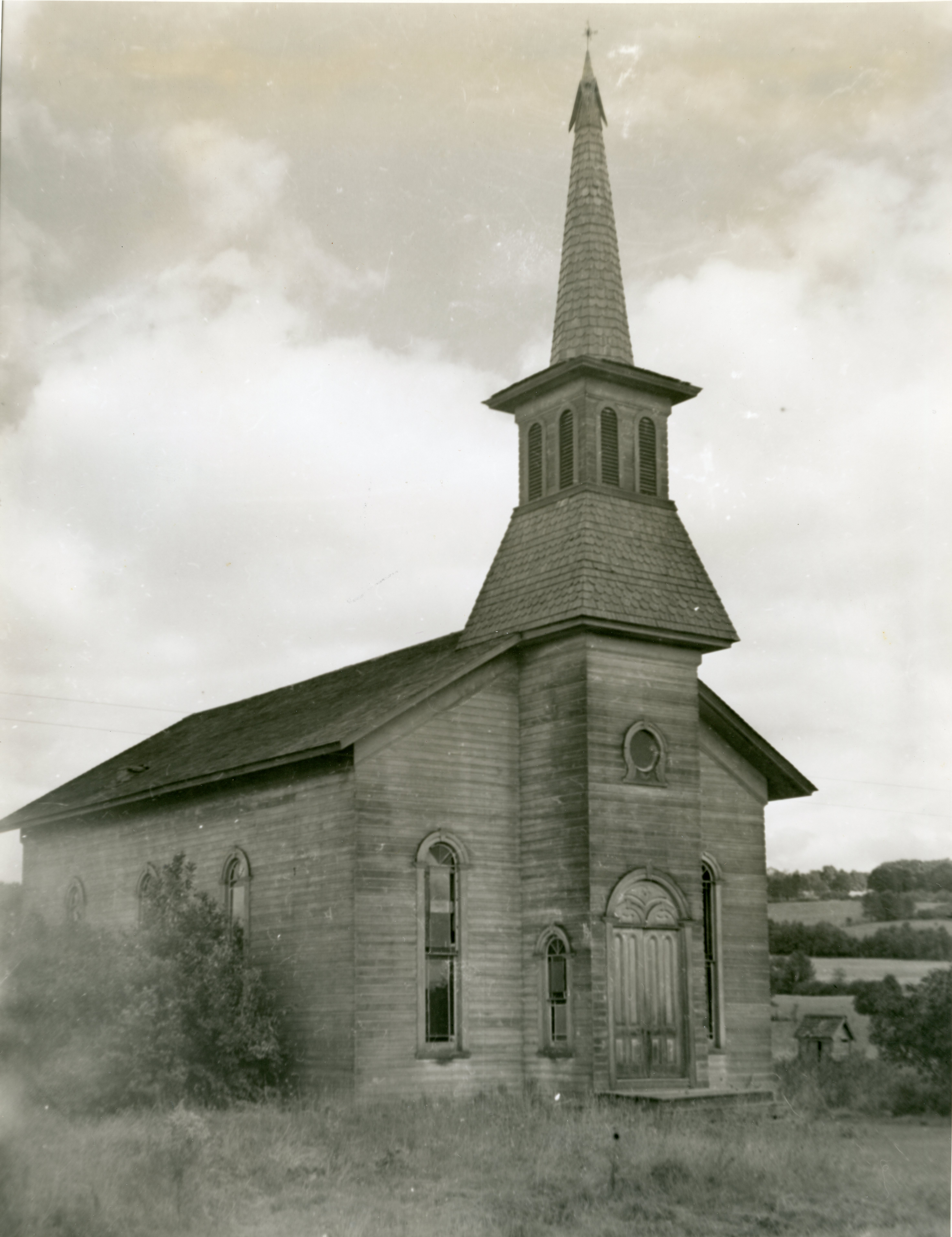 Image of old wooden Methodist Church in Barkertown.