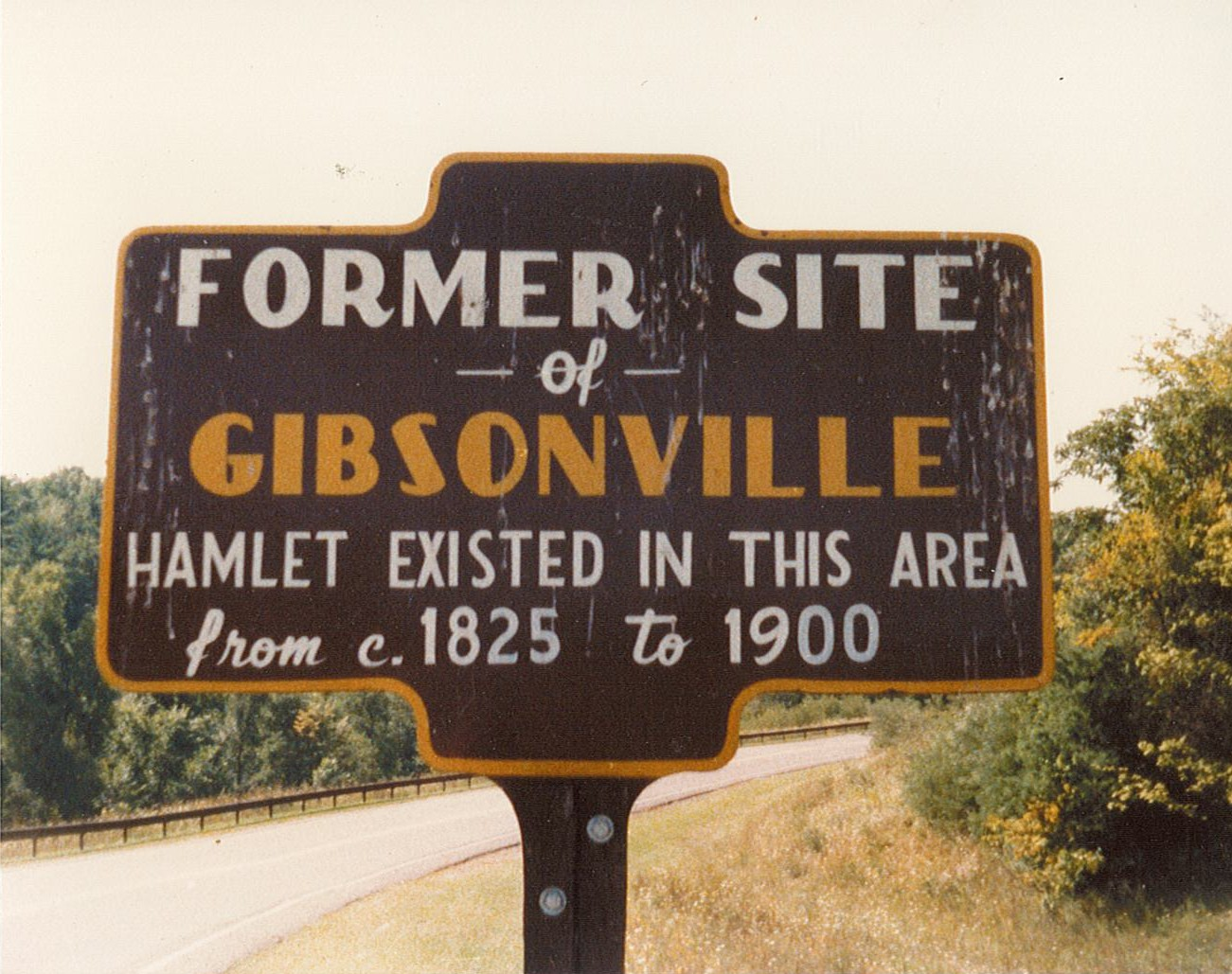 Image of vintagee historical marker sign for Gibsonville